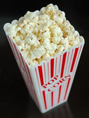 食品, 爆米花, 小吃, 电影, 玉米, 吃, 白色