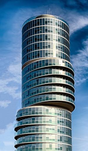 摩天大楼, 建筑, 偏心塔, 波鸿, 现代, 玻璃幕墙, 立面