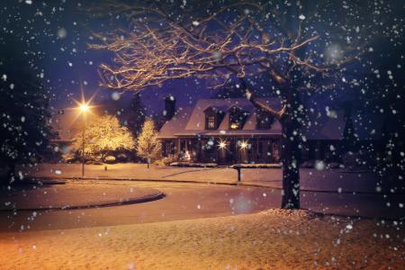午夜雪, 夜雪, 白雪皑皑, 冬天, 房子, 首页, 晚上