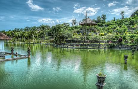 水上花园, 巴厘岛, 国王水上花园, 印度尼西亚, 异国情调, 旅行, 旅游