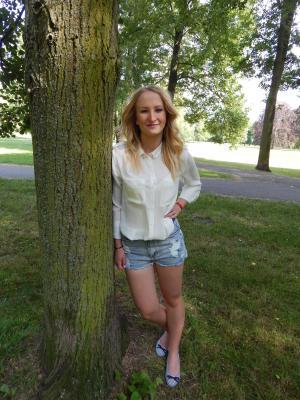 女孩, barbora, 夏季, 公园, stromovka
