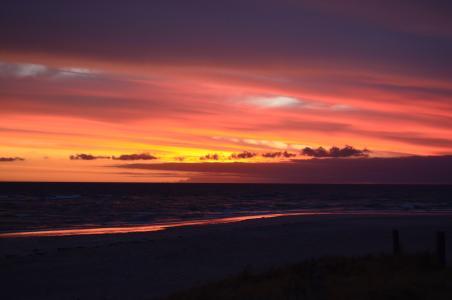日落, 海, 天空, 海滩, 夏季, 红色, 异国情调