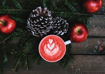 苹果, 圣诞节, 饮料, 水果, 松果, 松树的叶子, 表