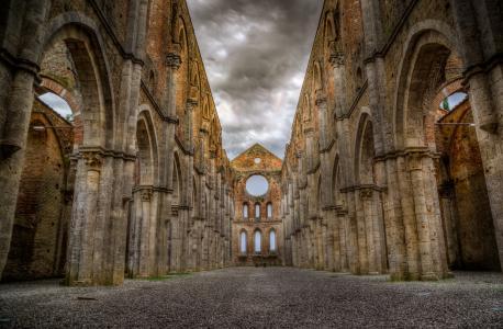 圣加尔加诺, 修道院, 废墟, 托斯卡纳, 教会, 建筑, 中世纪