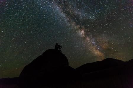 银河, 岩石, 晚上, 景观, 剪影, 天空, 星星