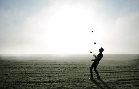 玩杂耍的人, 把戏, 苹果, 男子, 人, 雾, 天际线