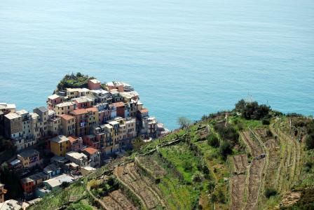 五渔村, 利古里亚, 房屋, 海, 山, 绿色, 天空