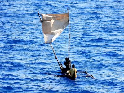独木舟, 独木舟, 自制风帆, 帆, 热带, 湾, 海