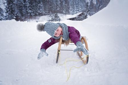 人, 人类, 儿童, 女孩, 雪橇, 幻灯片, 冬天
