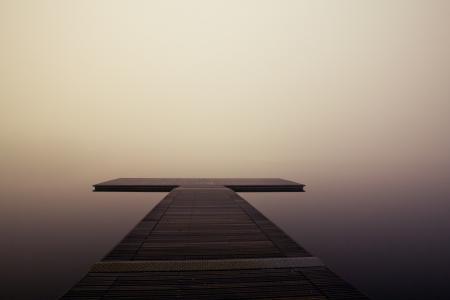 码头, 木制, 湖, 海洋, 海, 安静, 雾