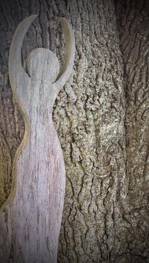 橡树, holzfigur, 艺术, 机械加工橡木, 人类的身体, 日志, 树皮