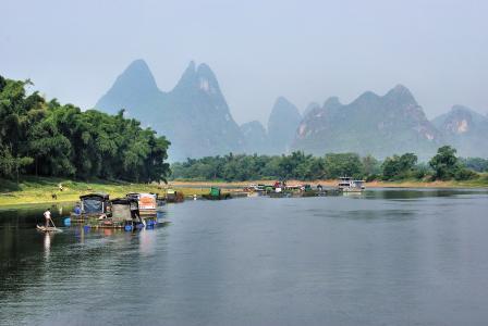 中国, 漓江, 贸易, 筏, 景观