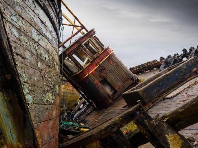 仔细考虑, 残骸, 驾驶室, 小船, 捕鱼, 苏格兰, 老