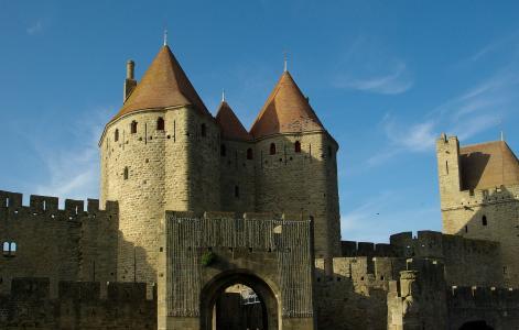 卡尔卡松, 法国, 中世纪城市, 城墙, 旅游