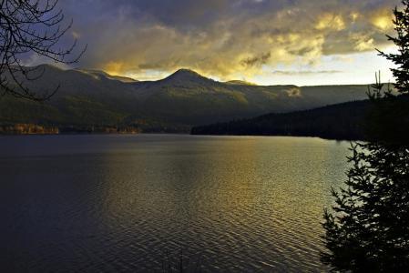 canim 湖, 不列颠哥伦比亚省, 加拿大, 天气, 日落, 雷雨, 自然