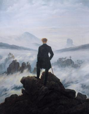 自画像, 在雾海之上的流浪者, 凯斯帕大卫 friedrich, 1818, 绘画, 图稿, 男子