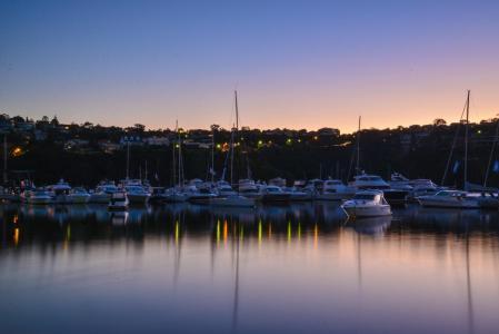 悉尼, 澳大利亚, 黎明, 小船, 玛丽娜, 吐桥