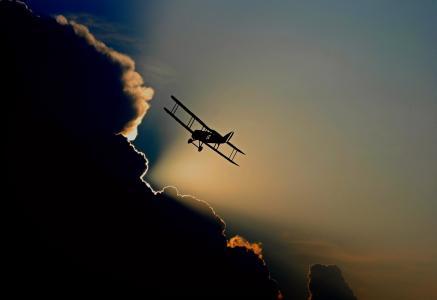 飞机, 双层, 螺旋桨飞机, 飞, 飞行, 航空, 天空