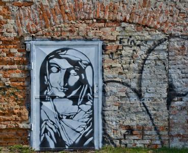 门, 涂鸦, 墙上, 砖, 红色, 渲染, 信心