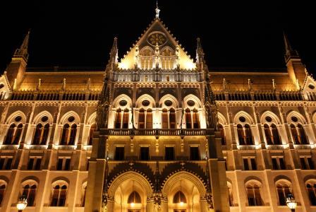 晚上, 灯, 城市, 议会, 布达佩斯, 建筑, 资本