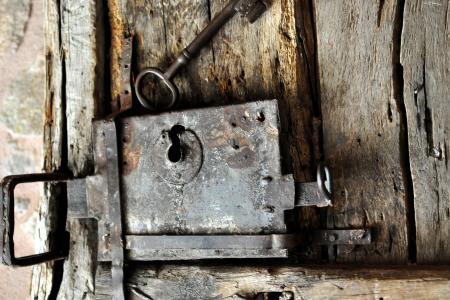 城堡, 关闭, 旧木门, 门把手, 门用五金, 门锁, 锻铁