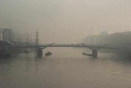 桥梁, 河, 雾, 旅行, 建筑, 具有里程碑意义, 城市