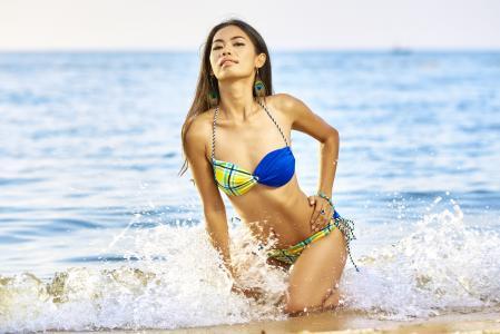 海滩, 比基尼, 夏季, 度假, 年轻, 女孩, 海