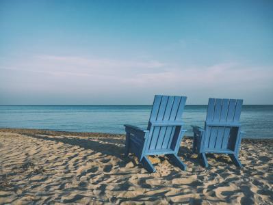 海滩, 沙滩椅, 椅子, 海洋, 沙子, 海, 海边