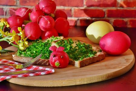 面包, 细香葱, 小萝卜, radieserl, 拉迪, 鸡蛋, 复活节彩蛋