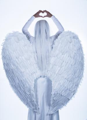 天使, 翅膀, 女孩, 女人