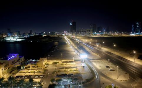 晚上, 城市, 巴林, 街道, 城市景观
