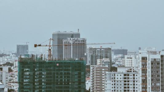 高, 上升, 建设, 照片, 建筑, 基础设施, 蓝色