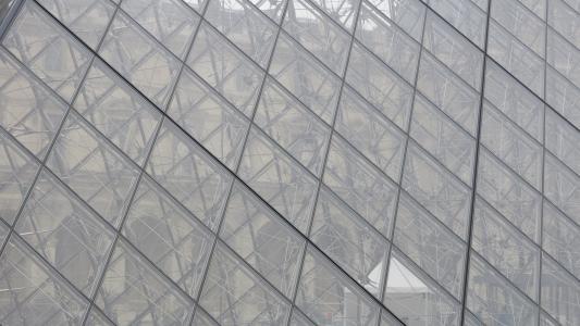 彩色玻璃, 罗浮宫, 透明, 草, 金字塔, 建筑, 玻璃-材料