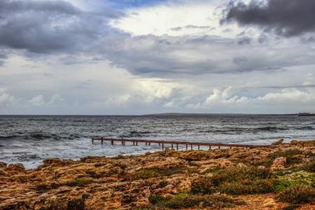 海滩, 岩石, 海岸, 码头, 海, 天空, 多云