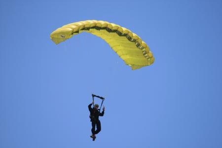 跳伞者, 降落伞, 黄色, 跳转, 天空, dom, 飞行