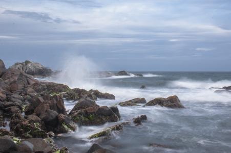 水, mar, 李, 没, 海滩, 岩石, 海洋