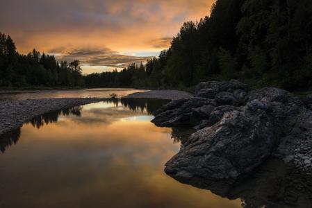 日落, 河, 反思, 天空, 多彩, 景观, 风景名胜