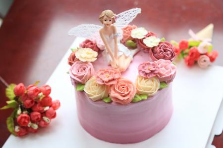 装饰蛋糕, 蛋糕, 甜, 奶油, 天使, 花, 西点军校