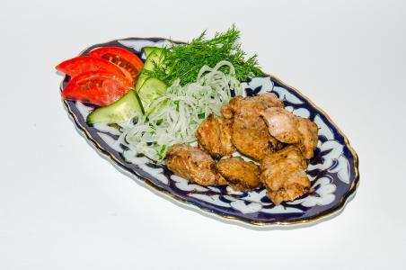 鸡, 油炸, 肉, 煎, 戳穿, 烤羊肉串, 曼加勒