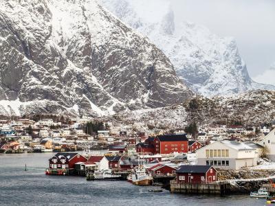 山, 端口, 房子, 瑞尼, 罗弗敦, 挪威, 雪