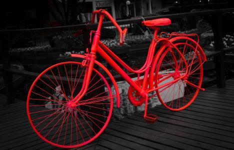 赶时髦的人, 自行车, 复古, 罗莎, 黑色, 白色