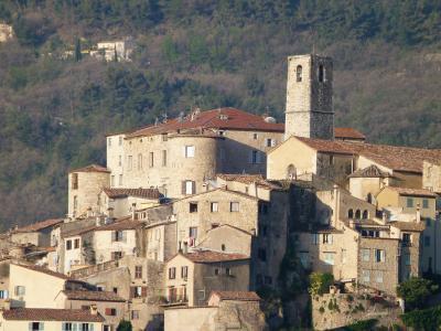 景观, 古老的村庄, 普罗旺斯, 阿尔卑斯滨海, 法国, 房屋, 分组