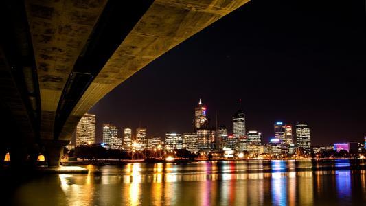 桥梁, 城市, 河, 晚上, 灯, 城市, 反思
