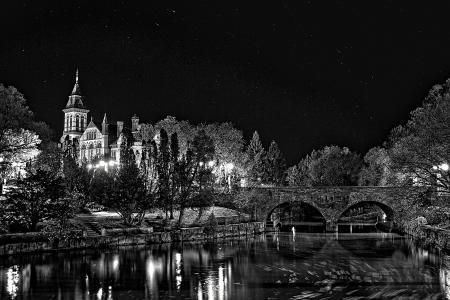 教会, 河, 桥梁, 晚上, 水, 反思, 建设