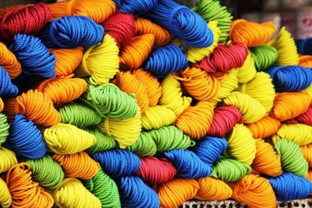 纱线, 羊毛, 绳子, 多彩, 绿色, 蓝色, 黄色