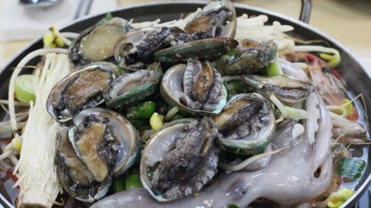 济州美食, haemultang, 食品, 唐, 鲍鱼, 八达通, 吃