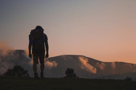 冒险, 草, 徒步旅行者, 男子, 山脉, 自然, 人
