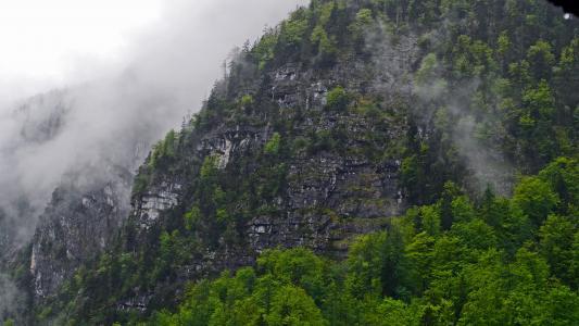 哈尔施塔特, 山腰, 雨后, 云计算