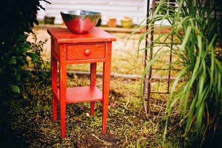 结束表, 抽屉里, 乡村, 内阁, 红色, 家具, 边桌