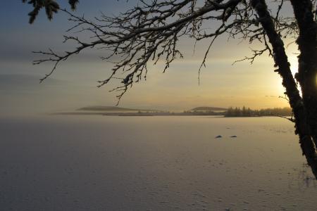 日出, 秋天, 湖, 冬天, soutujärvi, norrbotten, 雪